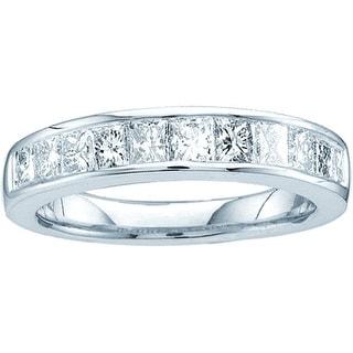 14k White Gold Natural Channel-set Princess Diamond Womens Ladies 3mm Wedding Band 1/2 Cttw