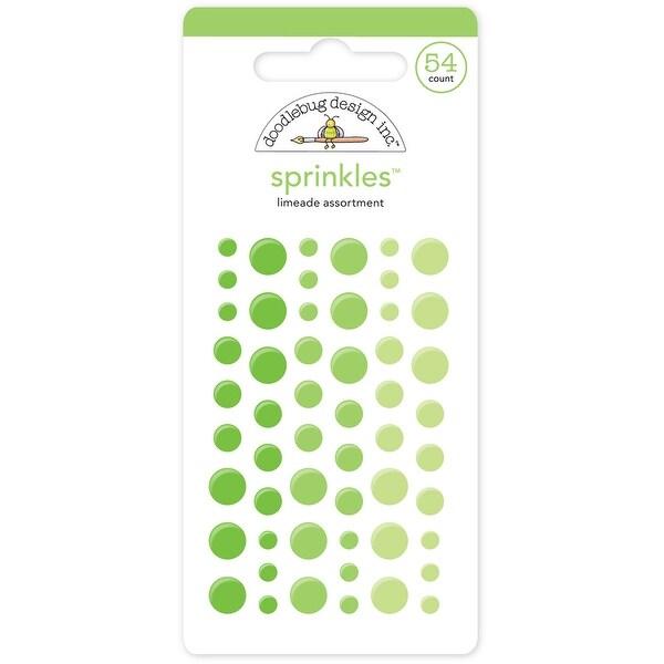 Doodlebug Sprinkles Adhesive Glossy Enamel Embellishments-Limeade Dots 54/Pkg - Green