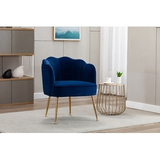 Link to Porthos Home Talia Scalloped Accent Chair, Velvet, Gold Metal Legs Similar Items in Living Room Chairs