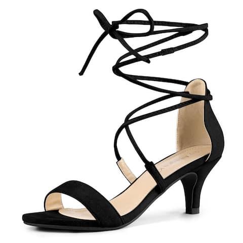 Women's Kitten Heel Lace Up Open Toe Sandals