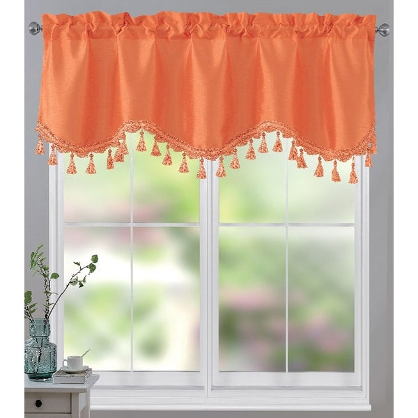 Melanie Faux Silk Scalloped Window Valance with Beaded Tassels, 55x18 Inches. Opens flyout.
