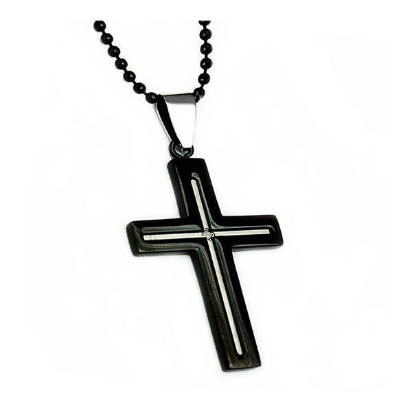 Black Stainless Steel Men's Cross Pendant - 24 inches