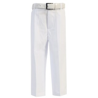 Little Boys White Flat Front Solid Belt Special Occasion Dress Pants 2T-7