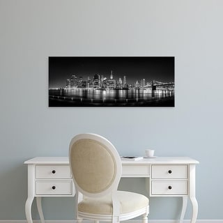 Easy Art Prints Panoramic Image 'Illuminated skylines at waterfront, Manhattan, New York City, New York' Canvas Art