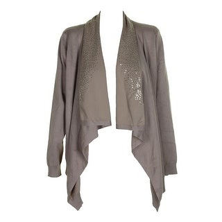 Dkny Gold Sequin Embellished Draped Open Front Cardigan M-L
