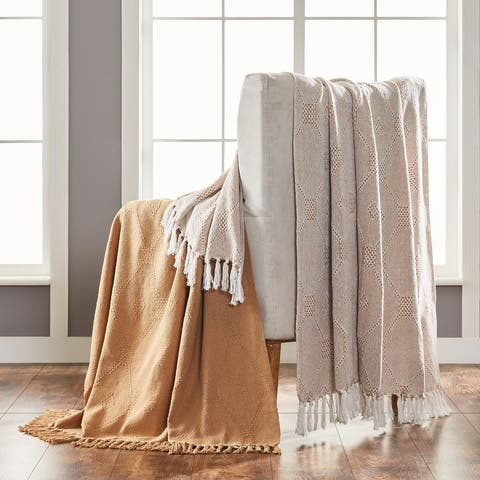 Modern Threads 2 Pack Chester 100-Percent Cotton Throw 50x60