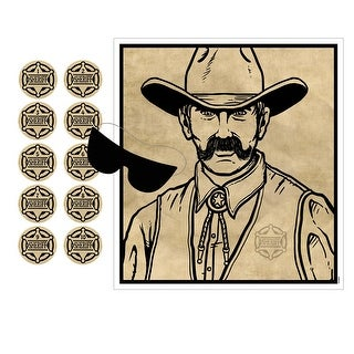 "Pin The Badge On The Sheriff Game - Party Favors:Games:Western: 16\xBD"" x 18"" - brown"