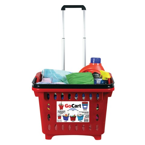 GoCart Rolling Shopping Basket - Cart Laundry with Collapsible Handle