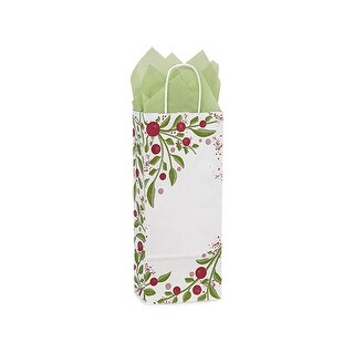 "Pack of 25, Floral Wine Tuscan Christmas Paper Bags 5.5 X 3.25 X 13"" 100% Recyclable, Made In Usa"