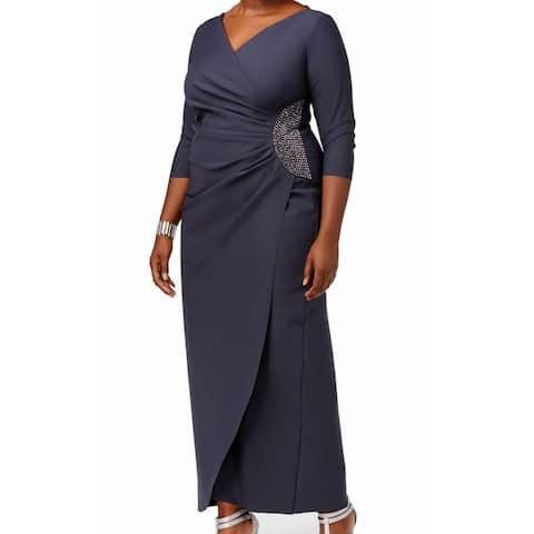 af92c25e9c8 Alex Evenings Charcoal Embellished Draped Women Plus Gown
