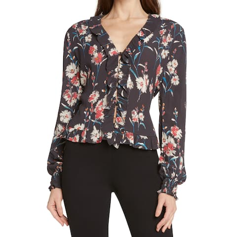 Willow & Clay Black Womens Size XS Ruffled Floral-Print Blouse