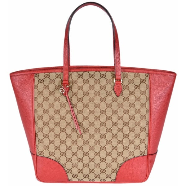 ae640eae9af4 Gucci Women's 449242 Beige Red Large Bree GG Guccissima Purse Handbag  Tote