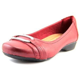 Clarks Narrative Blanche Rosa Women Round Toe Leather Red Flats (Option: 7.5)