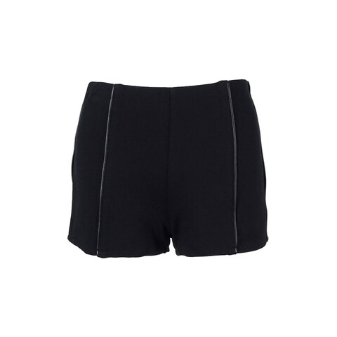 Material Girl Juniors' Faux Leather-Trimmed Shorts - caviar black