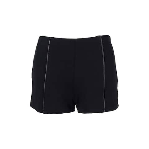 Material Girl Juniors' Faux Leather-Trimmed Shorts - caviar black - m