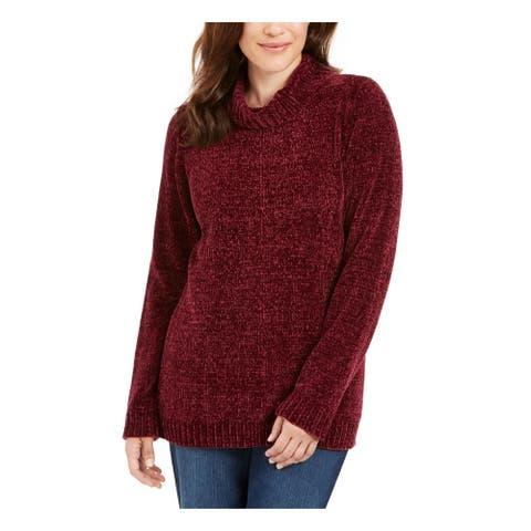 KAREN SCOTT Womens Purple Long Sleeve Cowl Neck Sweater Size S