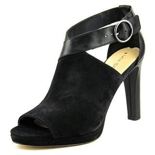 Via Spiga Robina Women Peep-Toe Suede Black Heels
