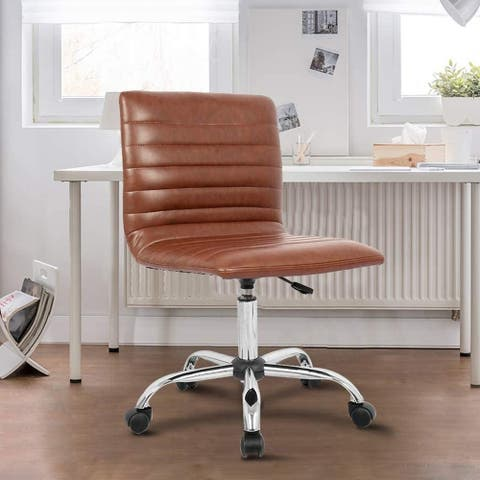 Home Office Chair Faux Leather Swivel Low Back Ribbed Armless
