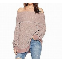 Free People Pink Women's Size XS Off Shoulder Knitted Sweater