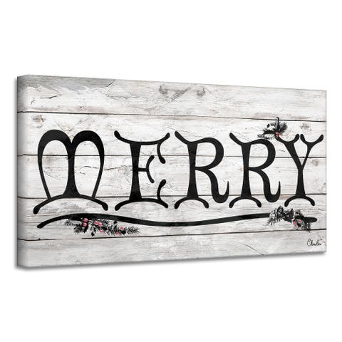 Ready2HangArt 'Merry' Holiday Canvas Wall Art by Olivia Rose