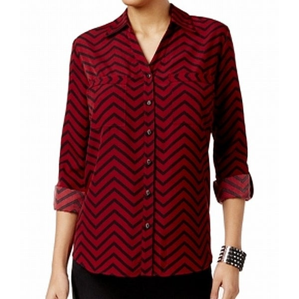 NY Collection Black Women's Small Utility Chevron Blouse