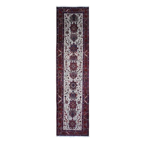 """Shahbanu Rugs Vintage Persian Karajeh Full Pile Excellent Condition Ivory Natural Wool Hand Knotted Runner Rug (3'4"""" x 13'8"""")"""