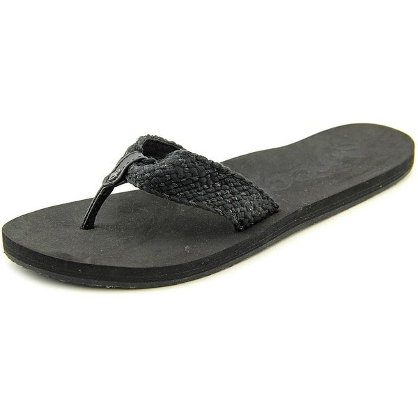 Reef Mallory Women Open Toe Canvas Black Flip Flop Sandal