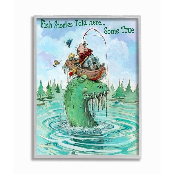 Stupell Industries Stories Told Here Funny Sports Fishing Cartoon Design Framed Wall Art. Opens flyout.