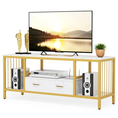 """55 Inches Gold TV Stand with Drawers for TVs Up to 60"""" , Faux Marble Veneer - Gold/White"""