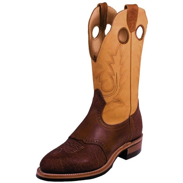 Boulet Western Boots Mens Cowboy Roper Buckskin Butterscotch