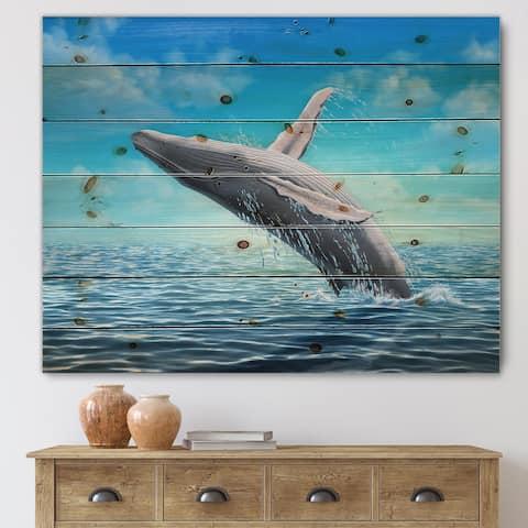 Designart 'Humpback Whale Jumping' Farmhouse Print on Natural Pine Wood