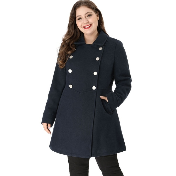 Women's Plus Size A Line Turn Down Collar Double Breasted Coat. Opens flyout.