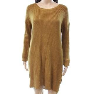 Pink Rose Brown Women's Size Medium M Scoop-Back Sweater Dress