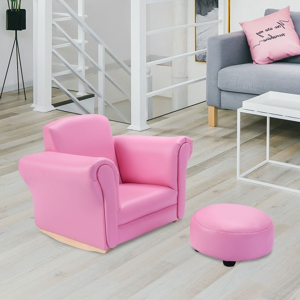 Shop Costway Pink Kids Sofa Armrest Chair Couch Childrens ...