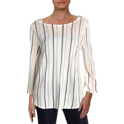 Nic + Zoe Womens In Motion Pullover Top Linen Blend Striped
