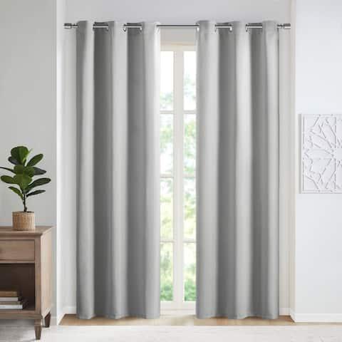 SunSmart Brent Solid Blackout Triple Weave Grommet Top Curtain Panel Pair