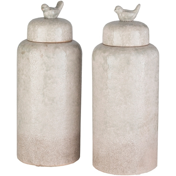 """Set of 2 Beige and Ivory Cylindrical Bottles with Lids 16.25"""" - N/A"""