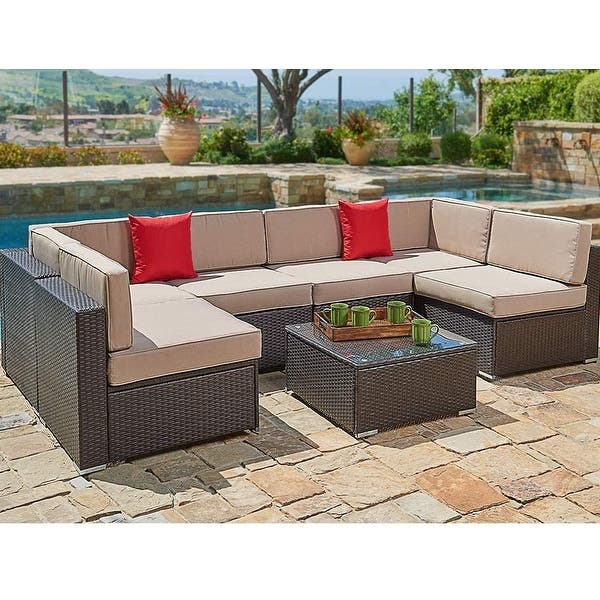 Shop Black Friday Deals On Outdoor Furniture 7 Piece Wicker Sofa Set By Havenside Home Overstock 29164286