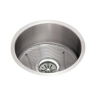 "Elkay ELUH16FBDBG Mystic Lustertone Stainless Steal 18-3/8'' Undermount Single Basin Kitchen Sink with 8"" Depth, Bottom Grid,"