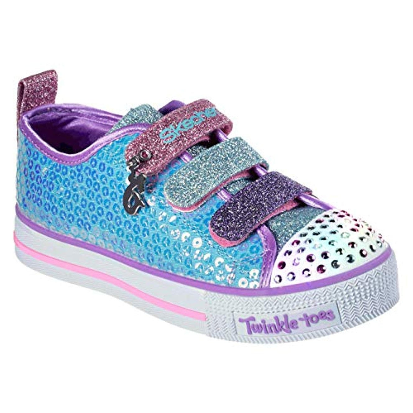 Skechers Kids Girls' Twinkle Lite Mermaid Magic Sneaker, TurquoiseMulti, 3 Medium Us Little Kid