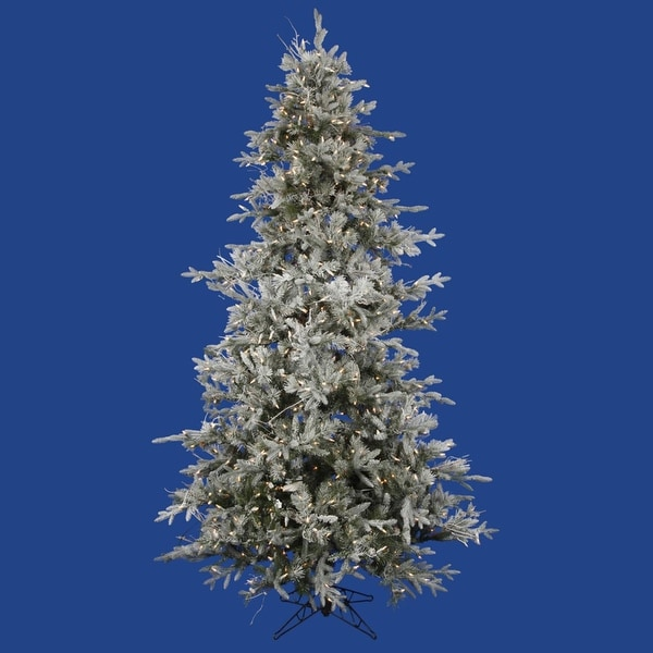 7.5' Pre-Lit Frosted Wistler Fir Artificial Christmas Tree - Clear Dura Lights - green