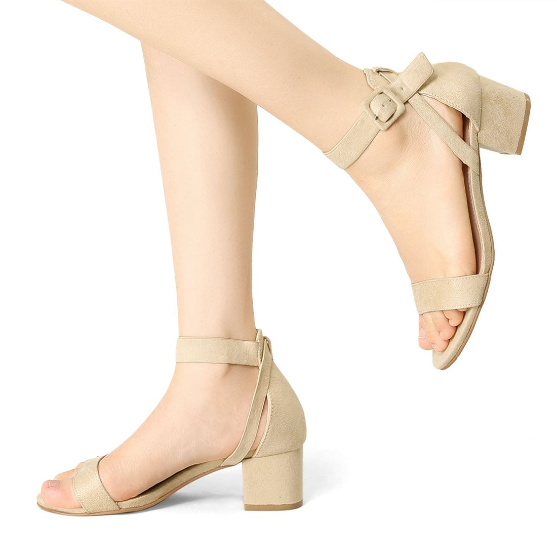 Allegra K Womens High Chunky Heel Buckle Ankle Strap Sandals
