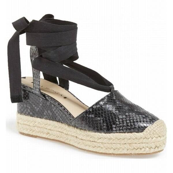 Via Spiga NEW Black Women's Shoes Size 7.5M Ralina Leather Wedge