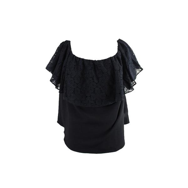 f81509790c0cd Shop Rachel Rachel Roy Plus Size Black Lace Off-The-Shoulder Top 2X ...