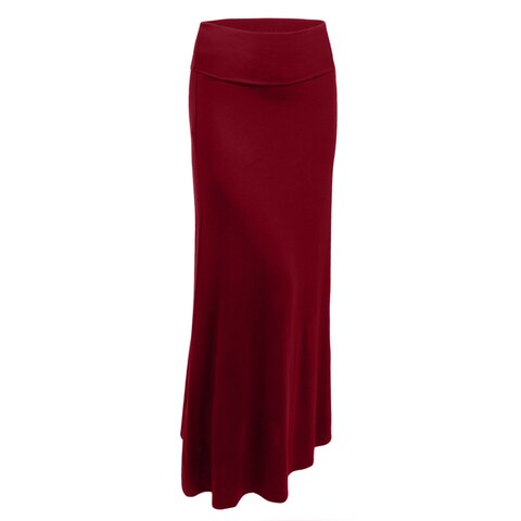 NE PEOPLE Womens Premium Basic Foldover Jersey Maxi Skirt [NEWSK05]