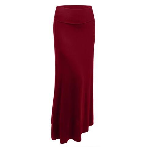 NE PEOPLE Womens Premium Basic Foldover Jersey Maxi Skirt [NEWSK05]