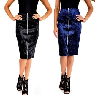 Brandy Blu Womens Plus Size Crushed Velvet Zip Front Midi Skirt
