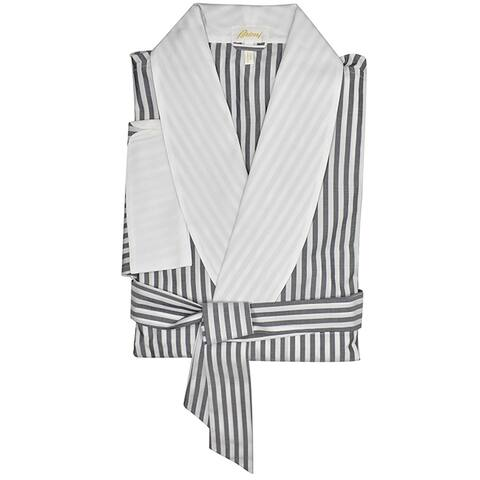 Brioni Mens Gray White Striped Belted Robe