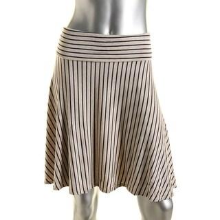Studio M Womens Stretch Striped A-Line Skirt - L