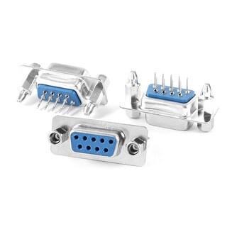 Unique Bargains DB9 9 Pin Double Row Lock Screw Straight Female Plug D-sub PCB Connector 3 Pcs